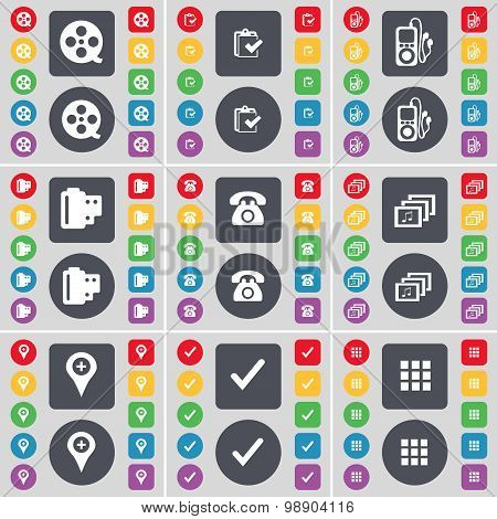 Videotape, Survey, Mp3 Player, Negative Films, Retro Phone, Gallery, Checkpoint, Tick, Apps Icon Sym