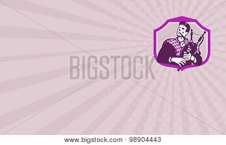 Business Card Scotsman Playing Bagpipes Shield Retro