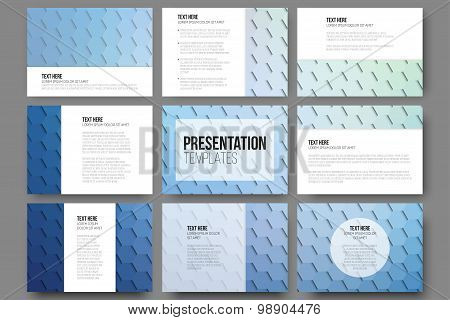 Set of 9 templates for presentation slides. Geometric blue backgrounds, abstract hexagonal vector pa