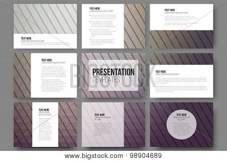 Set of 9 templates for presentation slides. Abstract violet backgrounds. Triangle design vectors