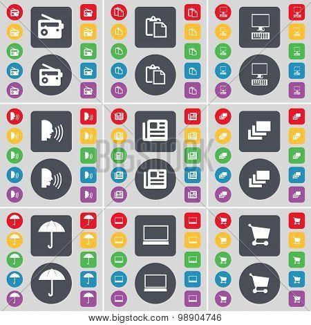 Radio, Survey, Monitor, Talk, Newspaper, Gallery, Umbrella, Laptop, Shopping Cart Icon Symbol. A Lar