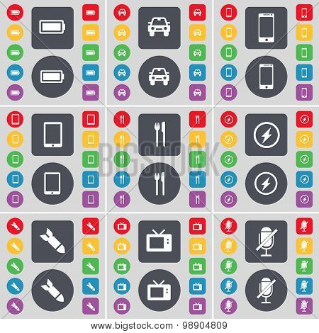 Battery, Car, Smartphone, Tablet Pc, Fork And Knife, Flash, Rocket, Retro Tv, Microphone Icon Symbol