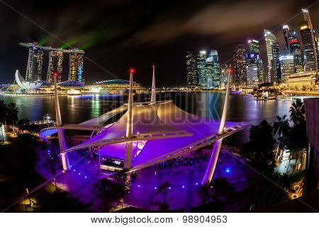 Singapore Night Skyline On The Esplanade