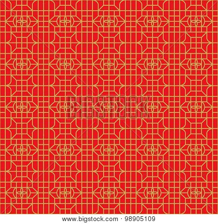 Seamless Chinese window tracery square flower geometry line pattern.