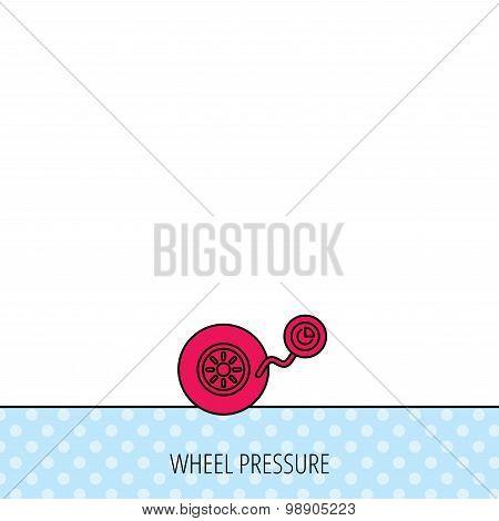 Wheel pressure icon. Tire service sign.