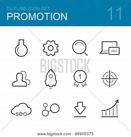 Business promotion vector outline icon set