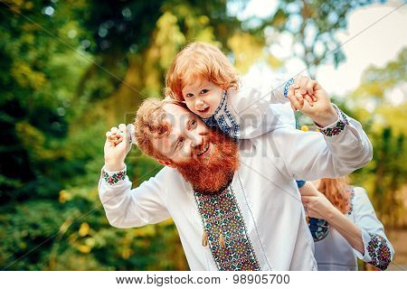 Ukrainian father and a son having fun
