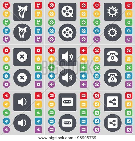 Bow, Videotape, Gear, Stop, Sound, Retro Phone, Sound, Cassette, Share Icon Symbol. A Large Set Of F