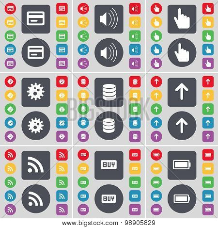 Credit Card, Sound, Hand, Gear, Database, Arrow Up, Rss, Buy, Battery Icon Symbol. A Large Set Of Fl