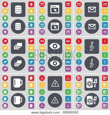 Database, Window, Message, Gallery, Vision, Clef, Cup, Warning, Speaker Icon Symbol. A Large Set Of