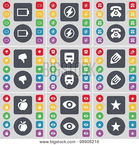 Battery, Flash, Retro Phone, Dislike, Truck, Pencil, Apple, Vision, Star Icon Symbol. A Large Set Of