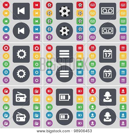 Media Skip, Ball, Cassette, Gear, Apps, Calendar, Radio, Battery, Avatar Icon Symbol. A Large Set Of