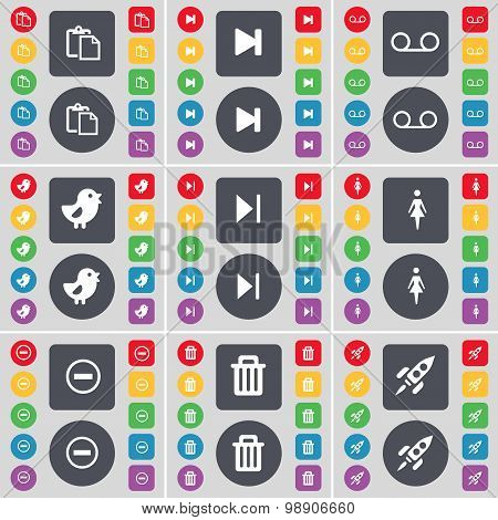 Survey, Media Skip, Cassette, Bird, Silhouette, Minus, Trash Can, Rocket Icon Symbol. A Large Set Of