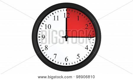 Wall clock with a red 15 minutes time interval
