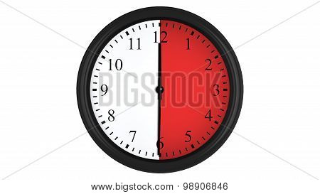 Wall clock with a red 30 minutes time interval