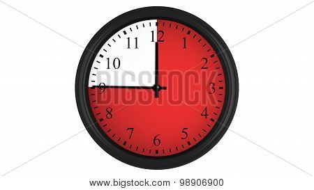 Wall clock with a red 45 minutes time interval
