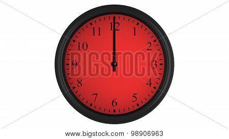 Wall clock with a red 60 minutes time interval