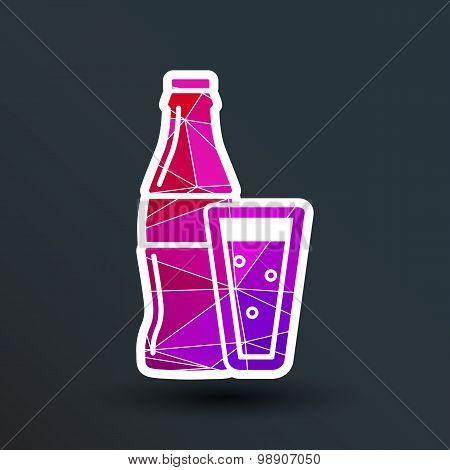 soda bottle design concept logo vector sign line