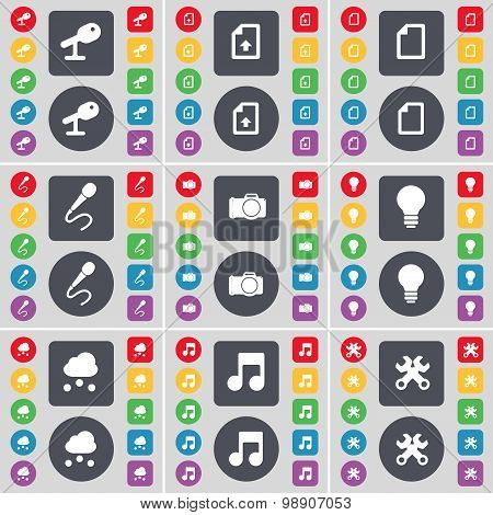 Microphone, Upload File, Microphone, Camera, Light Bulb, Cloud, Note, Wrench Icon Symbol. A Large Se