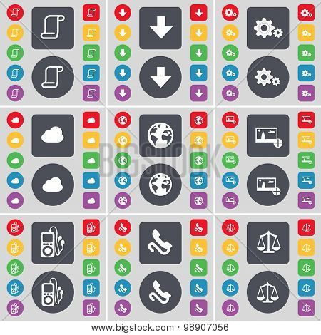 Scroll, Arrow Down, Gear, Cloud, Earth, Picture, Mp3 Player, Receiver, Scales Icon Symbol. A Large S