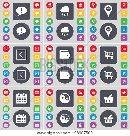 Chat Bubble, Cloudd, Checkpoint, Arrow Left, Wallet, Shopping Cart, Calendar, Yin-yang, Basket Icon