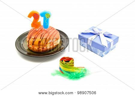 Donut With Twenty One Years Birthday Candle, Gift And Whistle