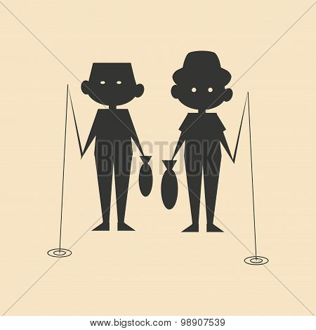 Flat in black and white mobile application men fishing