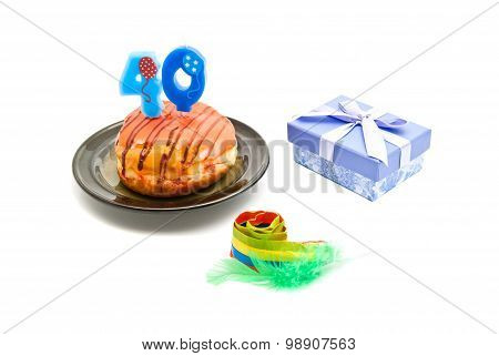 Donut With Forty Years Birthday Candle, Whistle And Gift On White