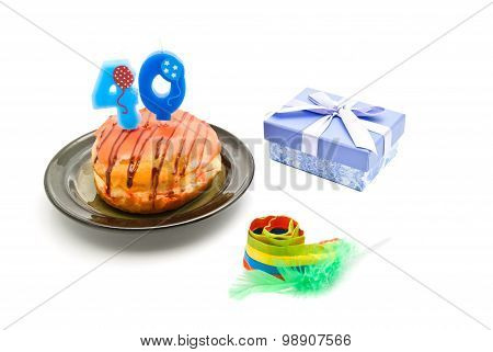 Donut With Forty Years Birthday Candle, Whistle And Gift