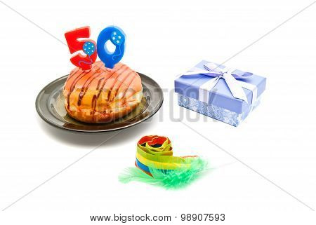 Donut With Fifty Years Birthday Candle, Whistle And Gift