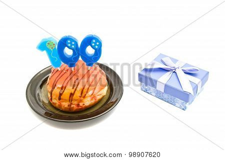 Donut With One Hundred Years Birthday Candle And Gift On White