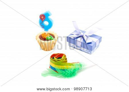 Cake With Six Years Birthday Candle, Whistle And Gift On White