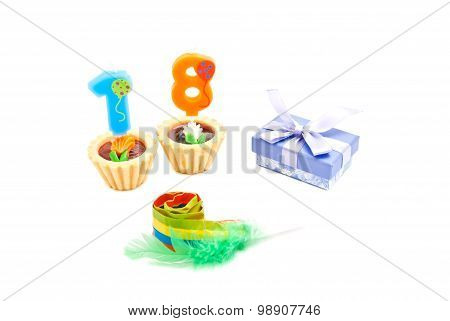 Cakes With Eighteen Years Birthday Candles, Whistle And Gift