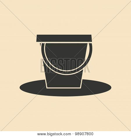 Flat in black and white mobile application pail
