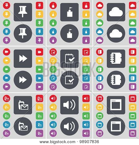 Pin, Flag Tower, Cloud, Rewind, Survey, Notebook, Sms, Sound, Window Icon Symbol. A Large Set Of Fla
