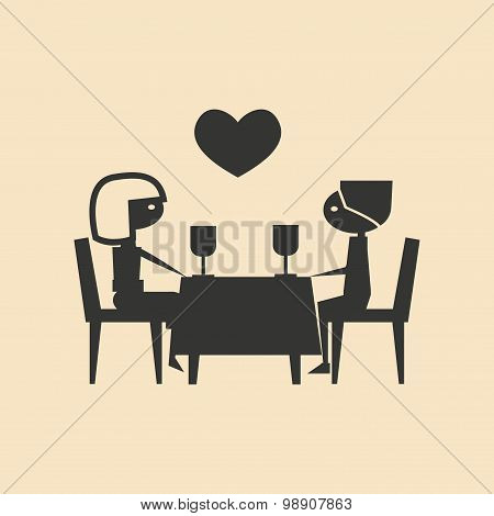 Flat in black and white mobile application romantic dinner
