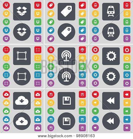 Dropbox, Tag, Train, Frame, Wi-fi, Gear, Cloud, Floppy, Rewind Icon Symbol. A Large Set Of Flat, Col