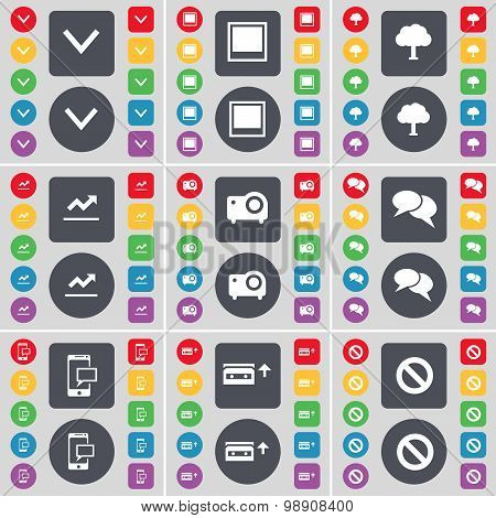 Arrow Down, Window, Tree, Graph, Projector, Chat, Sms, Cassette, Stop Icon Symbol. A Large Set Of Fl