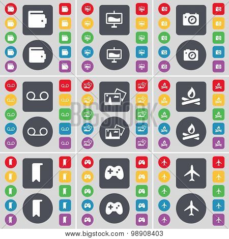 Wallet, Graph, Camera, Cassette, Picture, Campfire, Marker, Gamepad, Airplane Icon Symbol. A Large S