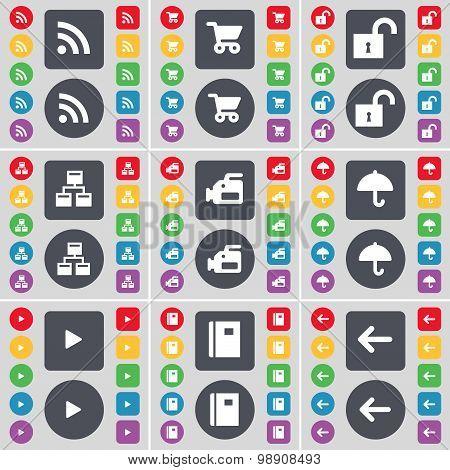 Rss, Shopping Cart, Lock, Network, Film Camera, Umbrella, Media Play, Notebook, Arrow Left Icon Symb