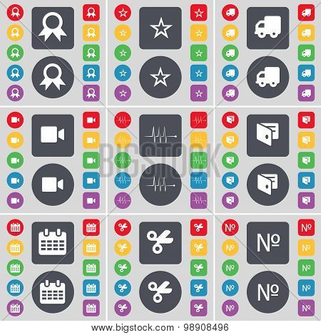 Medal, Star, Truck, Film Camera, Pulse, Wallet, Calendar, Scissors, Number Icon Symbol. A Large Set