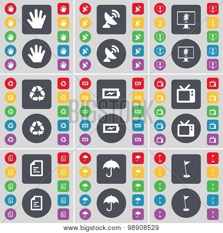 Hand, Satellite Dish, Monitor, Recycling, Charging, Retro Tv, Text File, Umbrella, Golf Hole Icon Sy