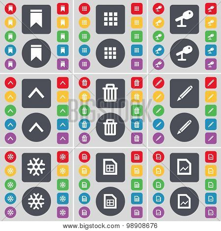 Marker, Apps, Microphone, Arrow Up, Trash Can, Pencil, Snowflake, Graph File Icon Symbol. A Large Se
