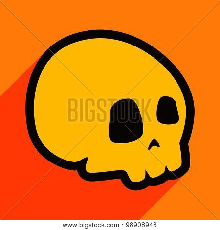Flat with shadow icon and mobile application skull icon