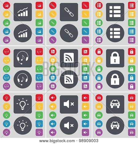 Graph, Link, List, Headphones, Rss, Lock, Light Bulb, Mute, Car Icon Symbol. A Large Set Of Flat, Co