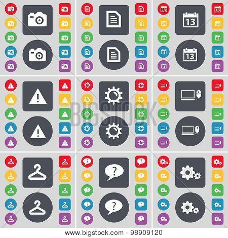 Camera, Text File, Calendar, Warning, Gear, Laptop, Hanger, Chat Bubble, Gear Icon Symbol. A Large S