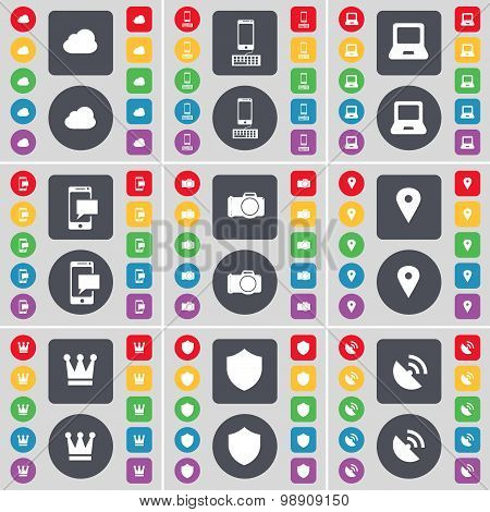 Cloud, Smartphone, Laptop, Sms, Camera, Checkpoint, Crown, Badge, Satellite Dish Icon Symbol. A Larg