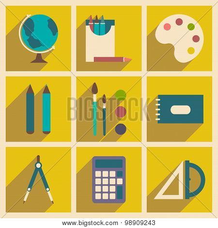 Flat with shadow concept and mobile application school supplies