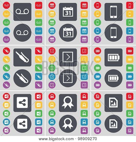 Cassette, Calendar, Smartphone, Microphone Connector, Arrow Right, Battery, Share, Medal, Media File
