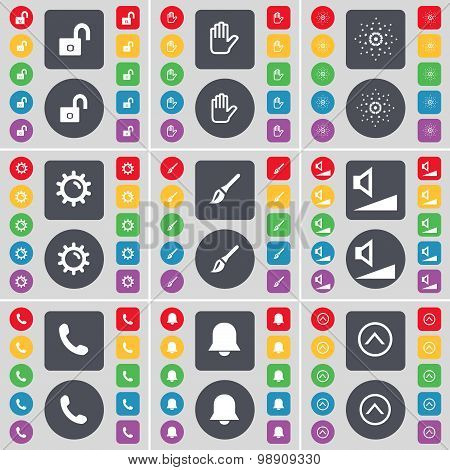 Lock, Hand, Star, Gear, Brush, Volume, Receiver, Notification, Arrow Up Icon Symbol. A Large Set Of